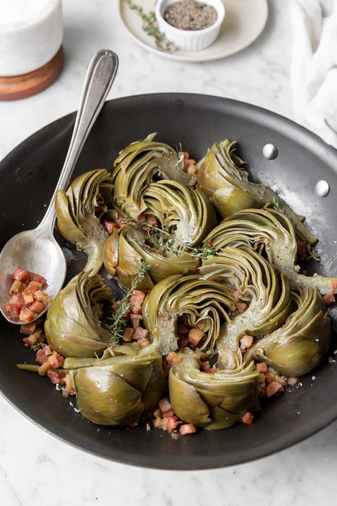 braised artichokes with pancetta and thyme