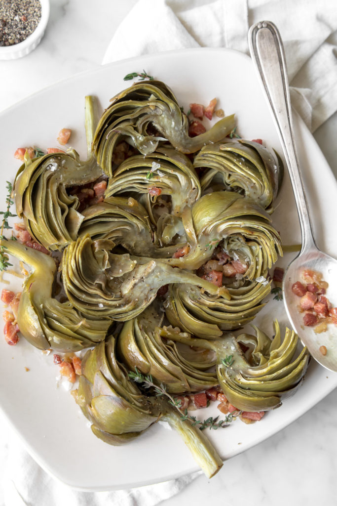 braised artichokes with pancetta, white wine and thyme