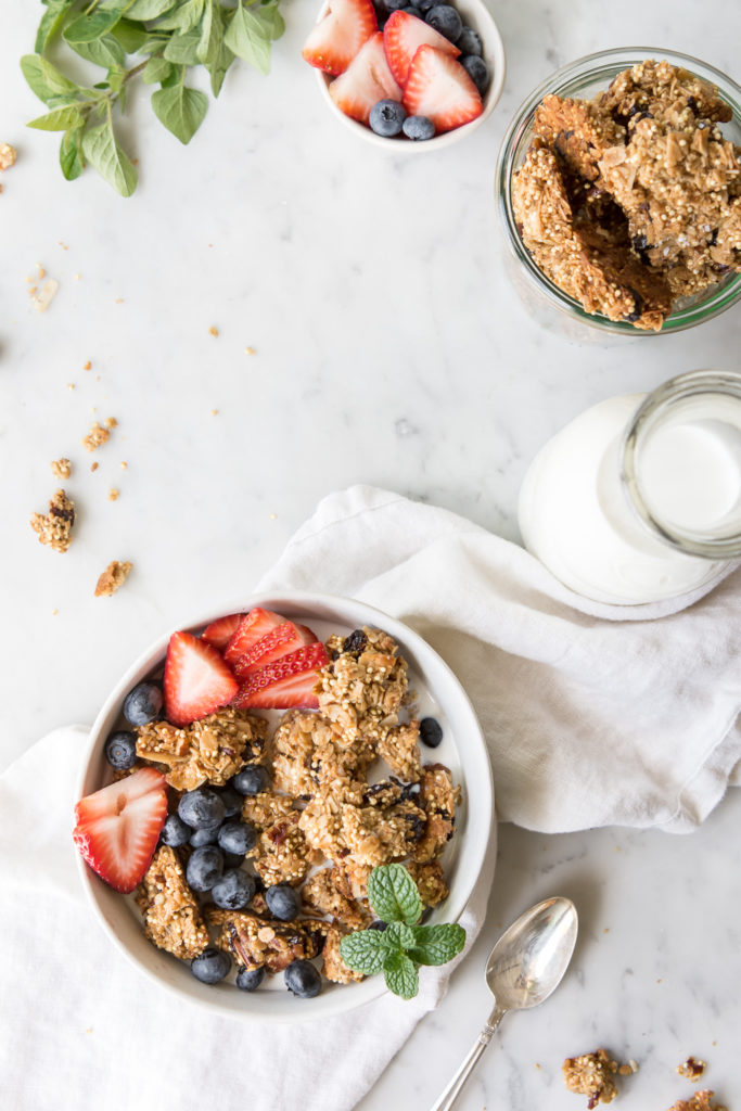 chunky granola recipe with maple and olive oil