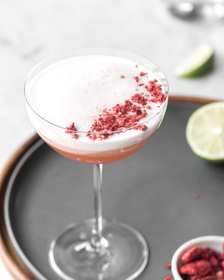 mezcal cocktail with strawberries and ginger