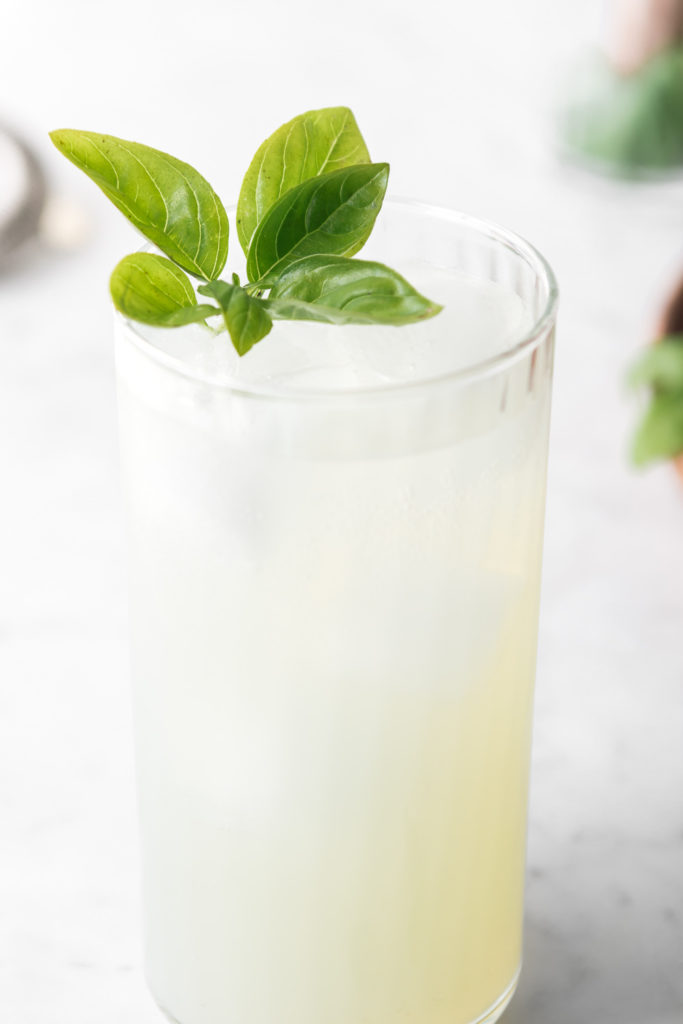 basil mojito with coconut water and rum