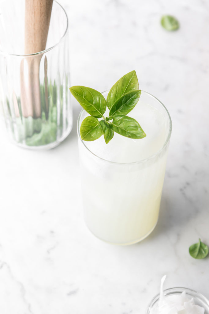 coconut mojito with lime and basil