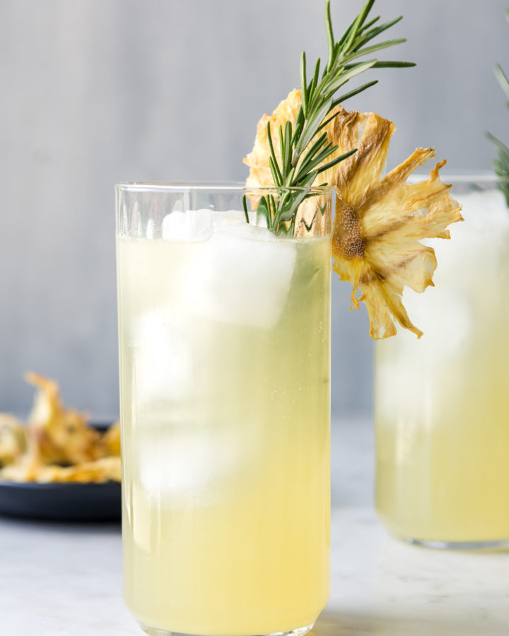 pineapple fizz with rosemary and white rum