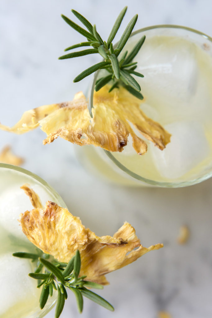 rum fizz with pineapple, rosemary and lime