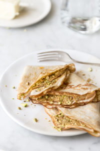 basic sourdough crepes with pistachio cinnamon sugar
