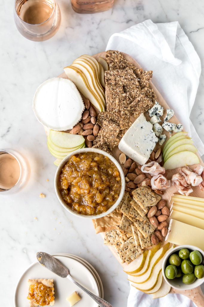 cheese board with spicy peach chutney