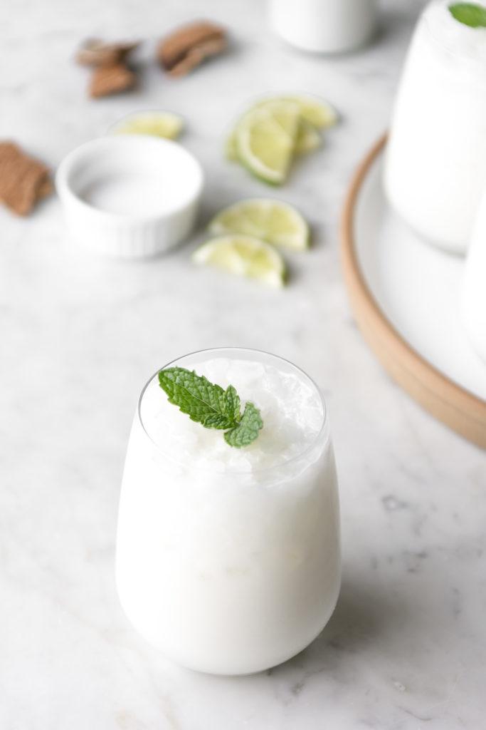 coconut milk rum julep with fresh mint