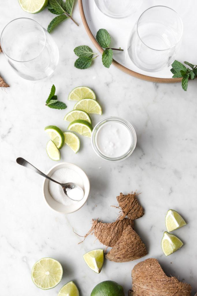 coconut milk, sugar, lime, mint- ingredient shot