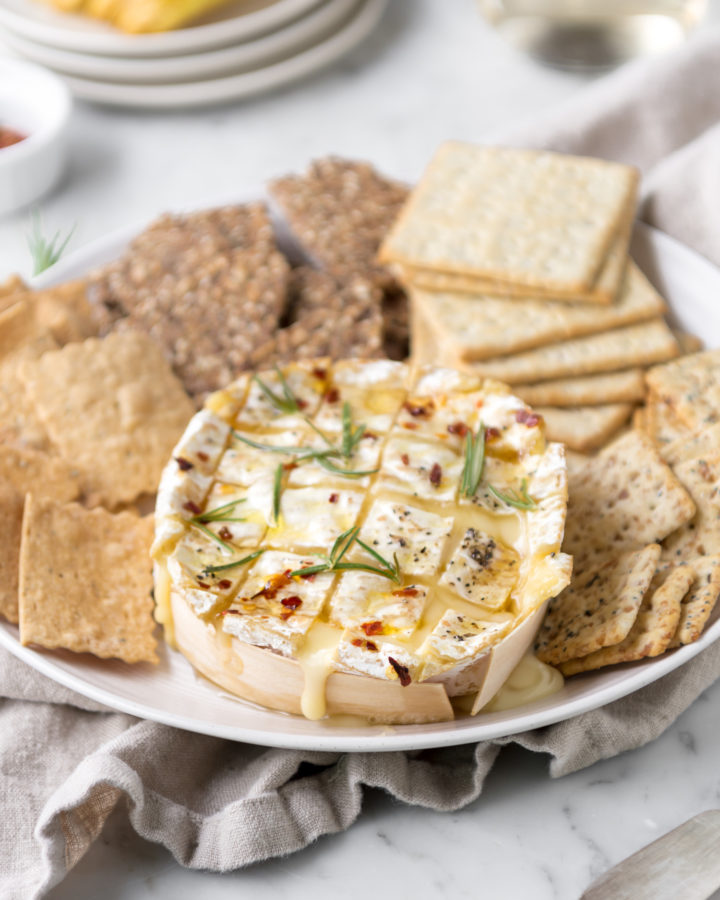 honey baked camembert with rosemary, red pepper flakes and black pepper