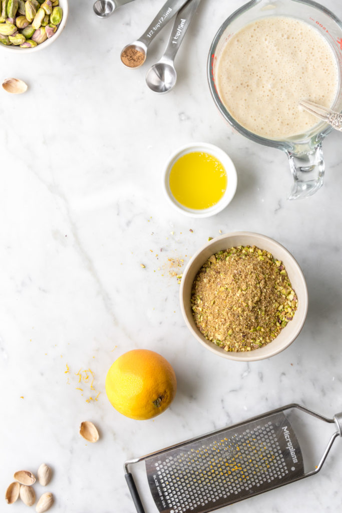 ingredients- batter, cinnamon sugar, pistachios, orange zest