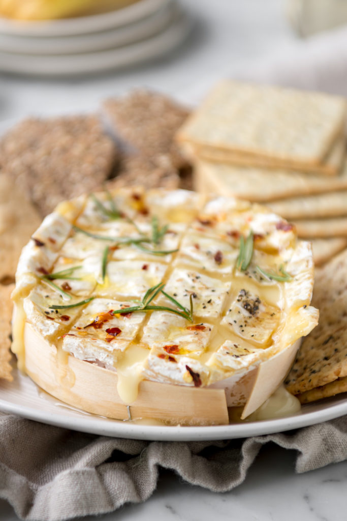 melted baked camembert with honey and rosemary
