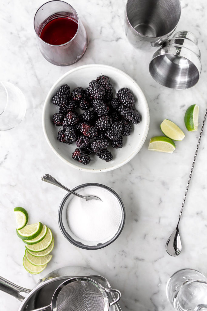 blackberries, red wine, lime, tequila, sugar, cocktail shaker, stirrer