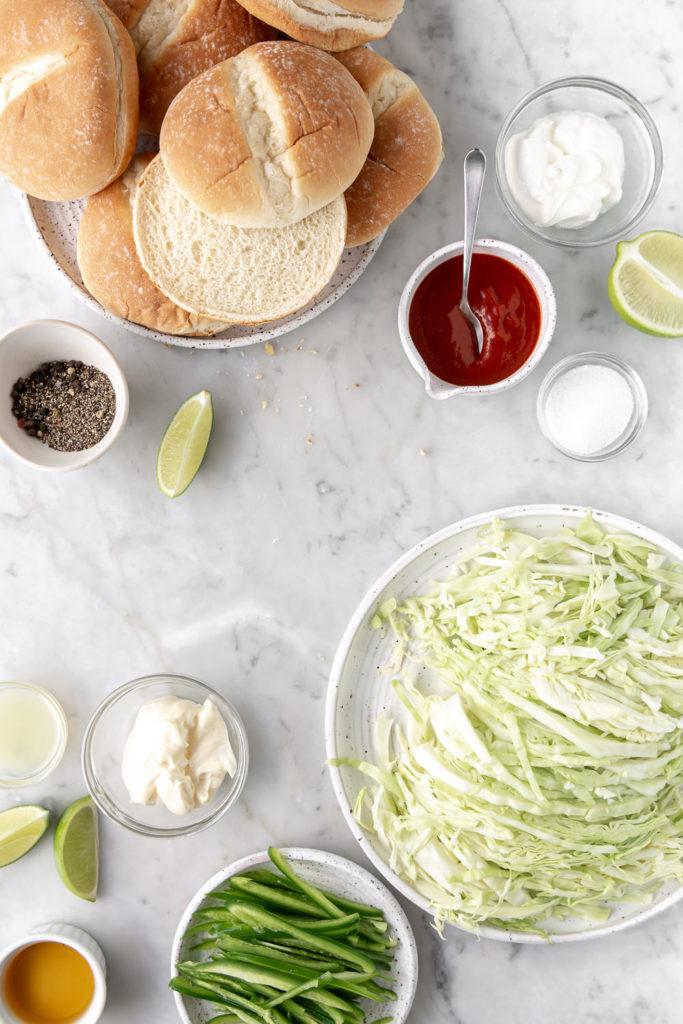 buns, cabbage, jalapenos, sriracha, mayonnaise