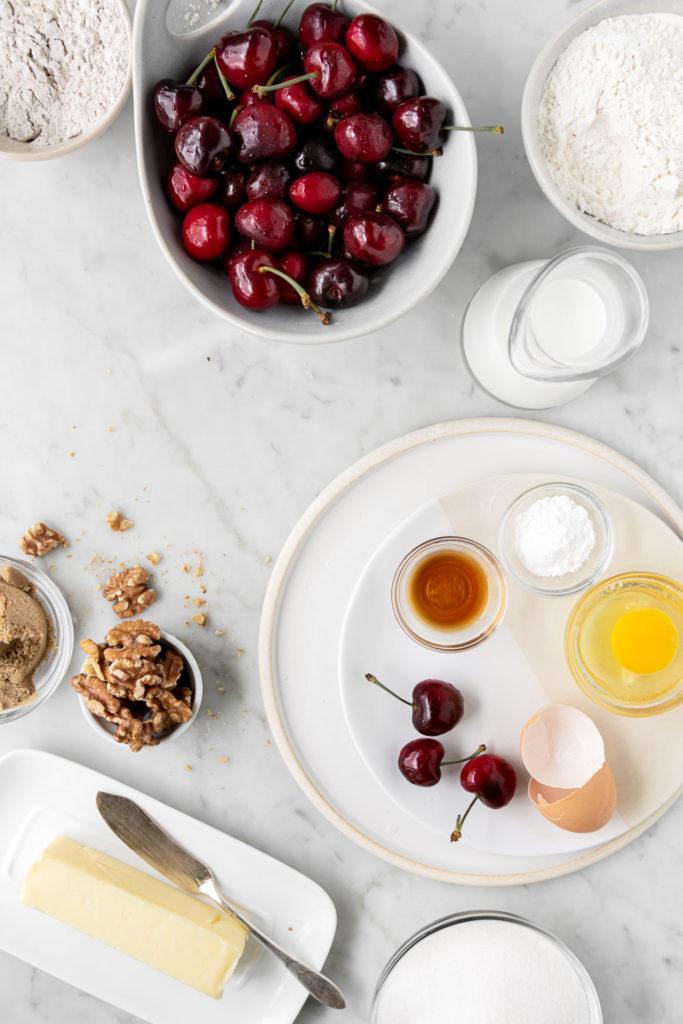 cherries, rye flour, butter, walnuts, eggs, sugar, vanilla