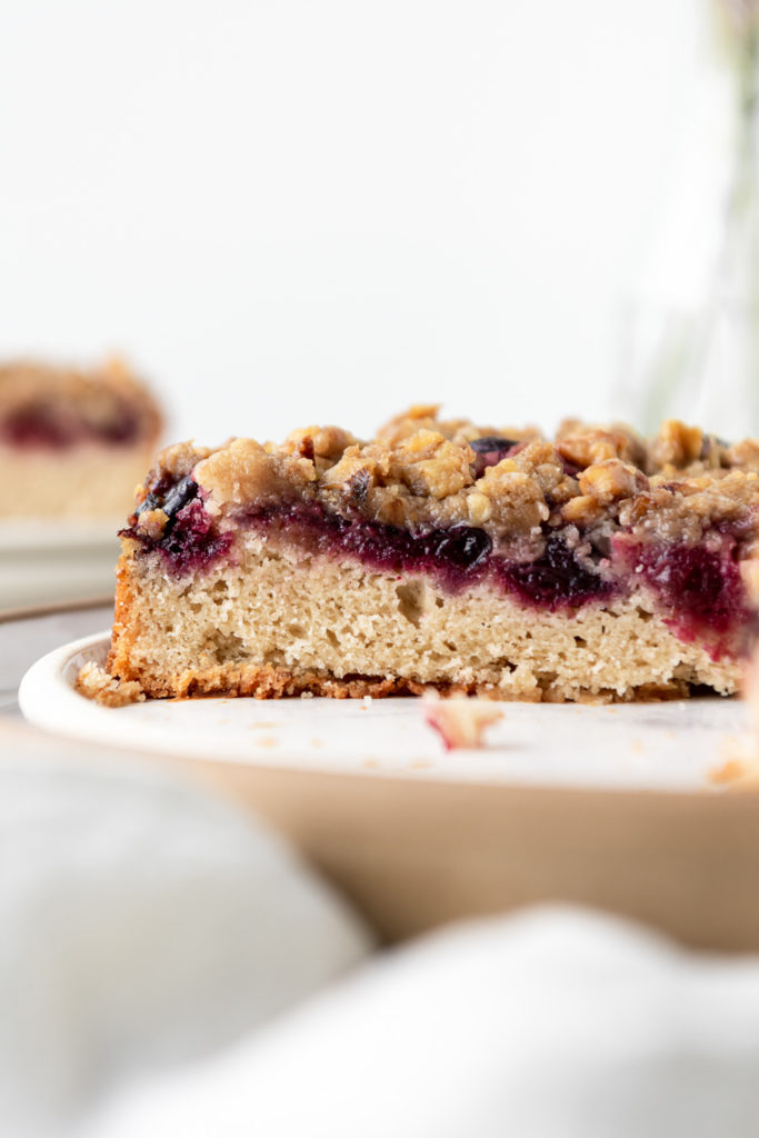 cherry buckle with rye flour and walnut streusel