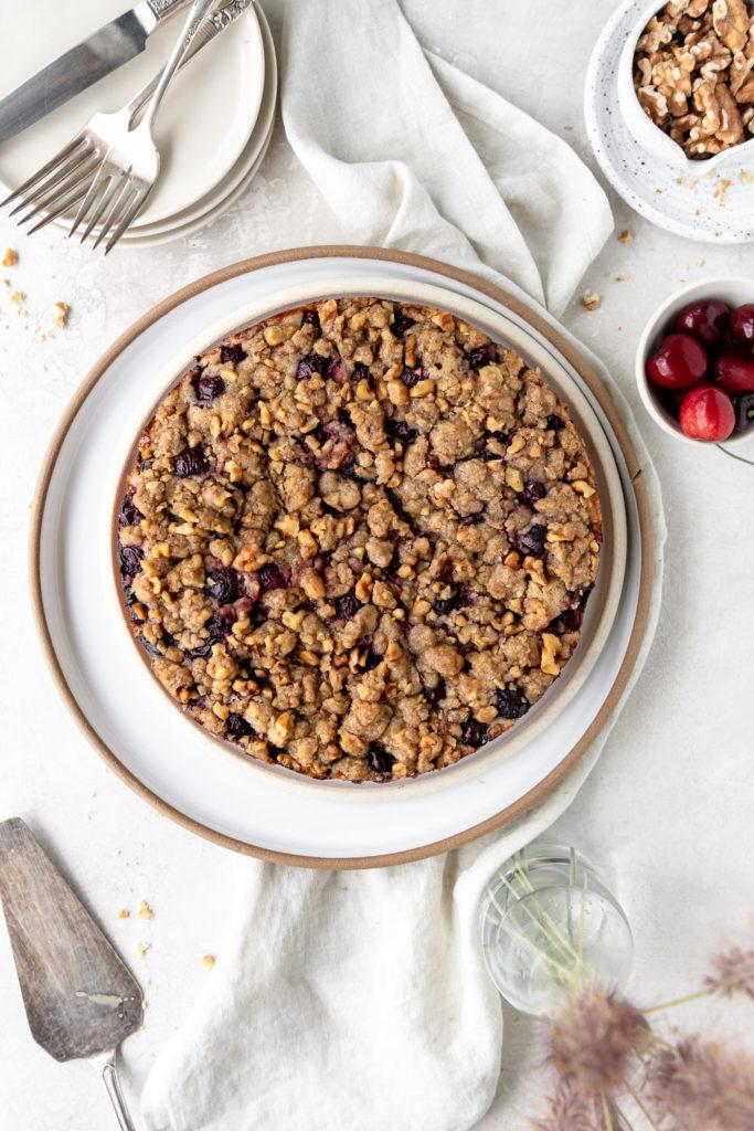 cherry rye buckle cake with walnut streusel