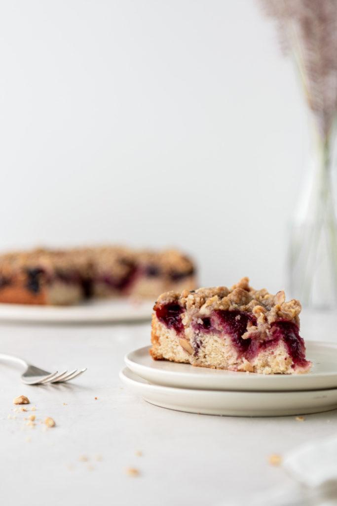 cherry rye buckle cake with walnut streusel recipe