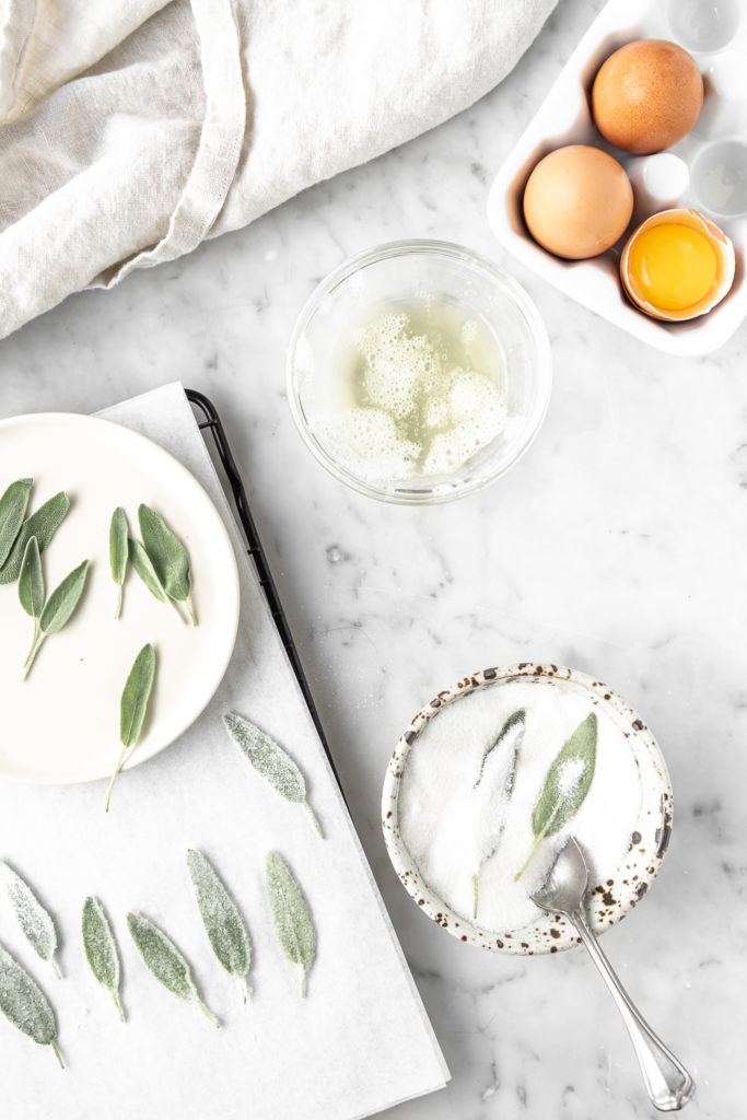 how to make candied sage leaves with egg whites and sugar