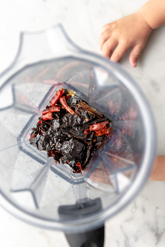ready to blend dried and toasted chiles