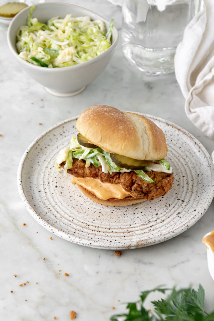spicy buttermilk fried chicken sandwich with sriracha mayo and jalapeno slaw recipe