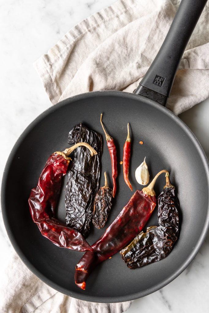 toasting dried red chiles