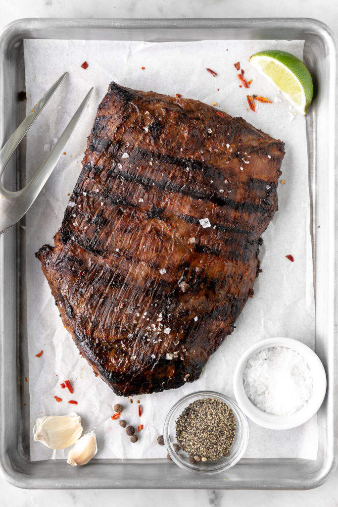ancho chile citrus marinated and grilled flank steak