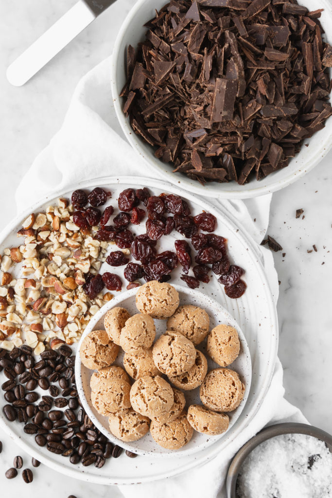 bittersweet chocolate, amaretti cookies, dried tart cherries, hazelnuts, espresso beans, flaky salt
