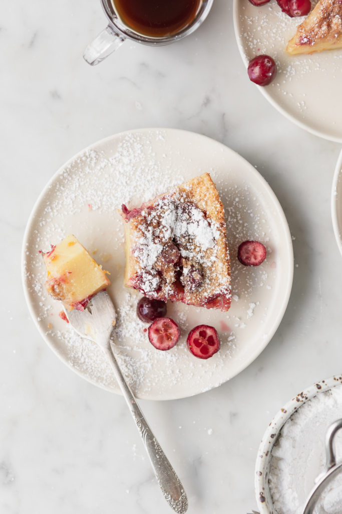brown butter cranberry clafoutis with cinnamon sugar
