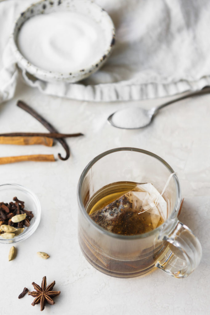 chai tea, sugar, spices