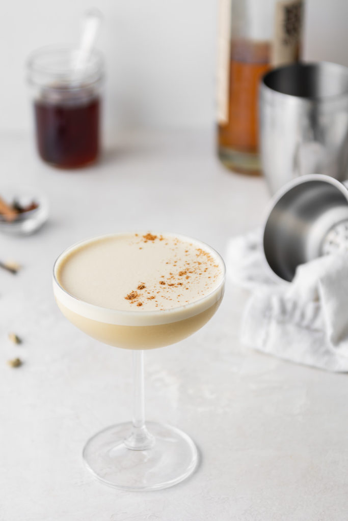 chai whiskey flip cocktail