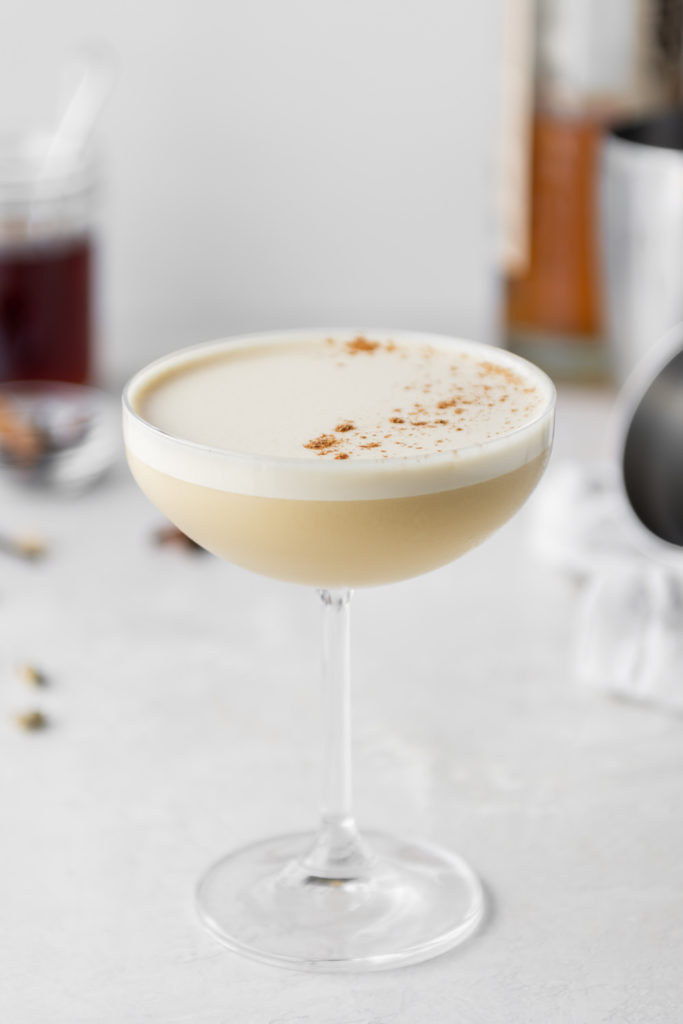 chai whiskey flip cocktail recipe