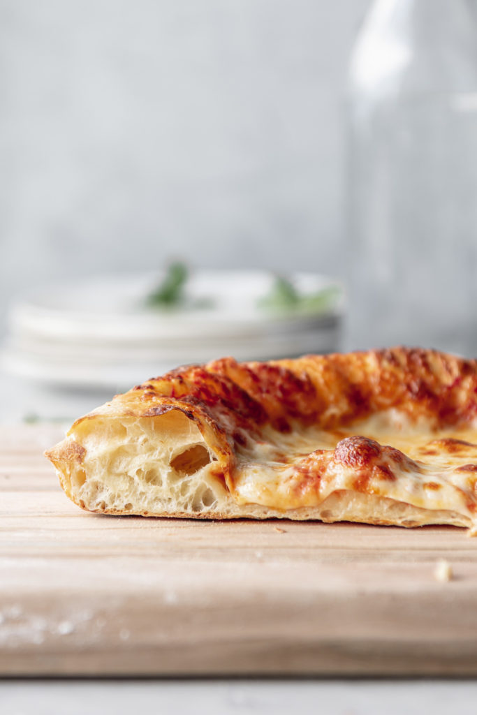 chewy pizza dough recipe with big bubbles in crust
