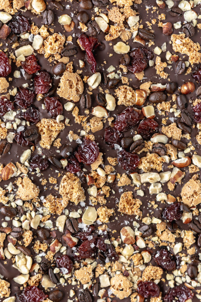 chocolate holiday bark with amaretti cookies and espresso