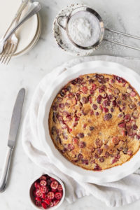 cranberry clafoutis with brown butter and orange zest