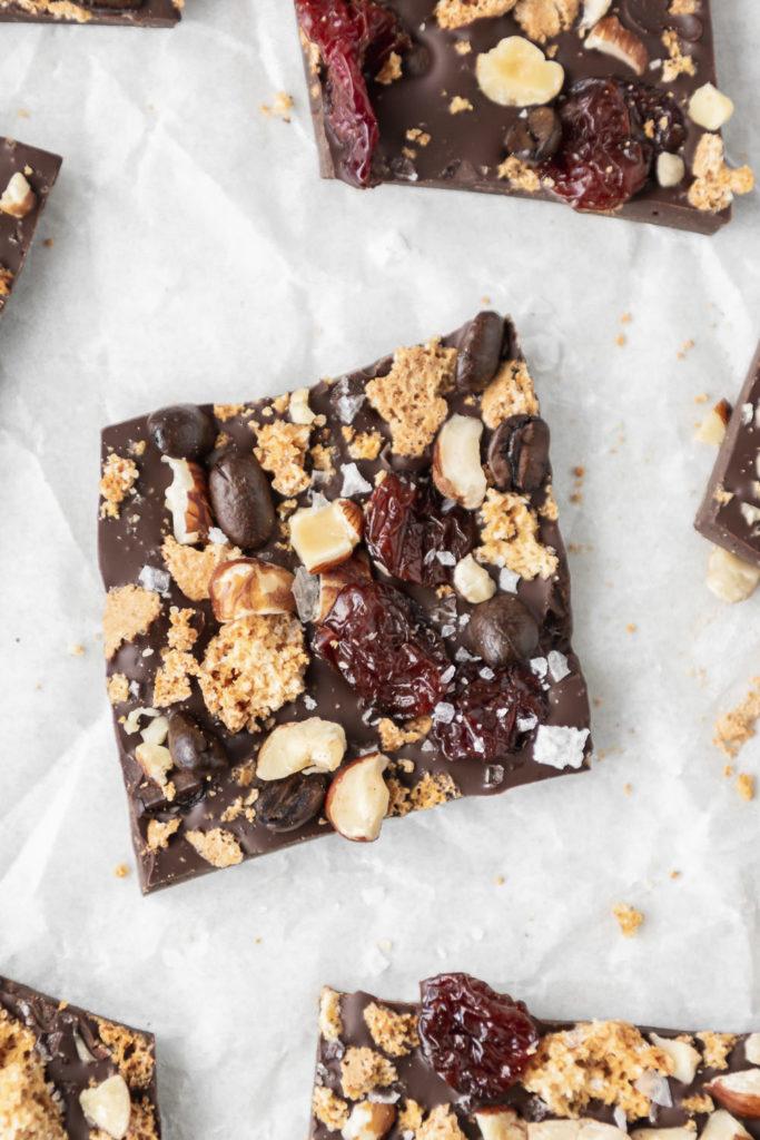 dark chocolate amaretti cookie bark with cherries, hazelnuts and coffee beans