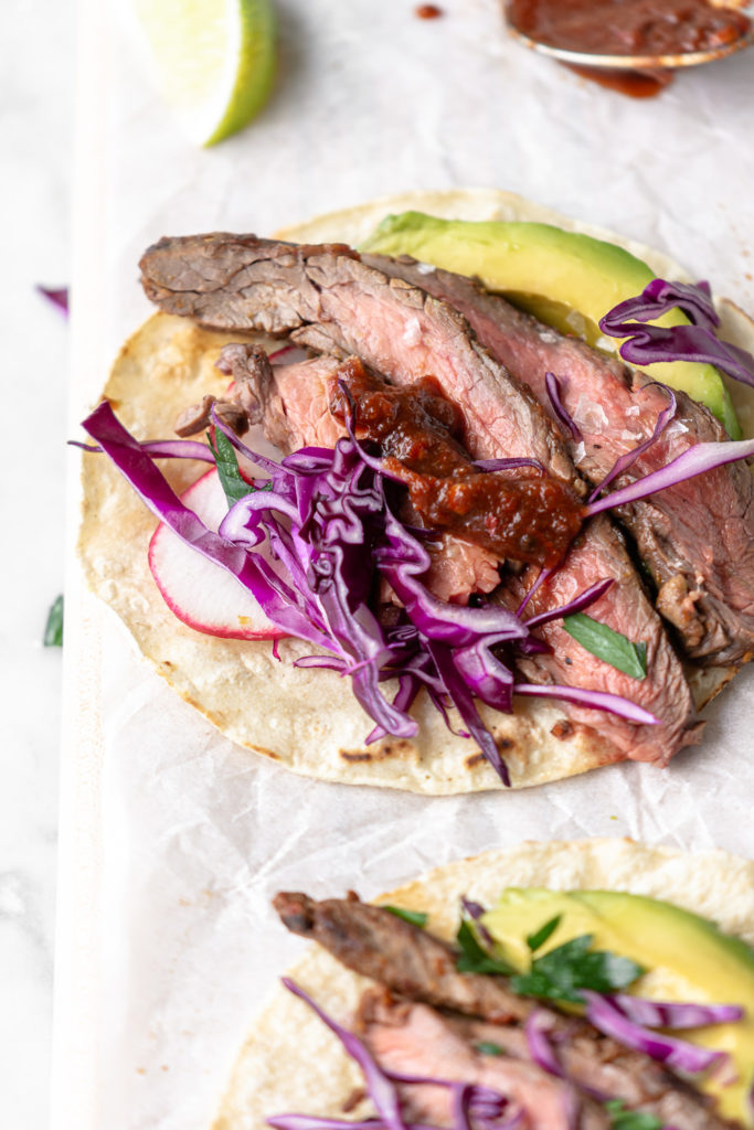 grilled flank steak tacos with ancho citrus marinade
