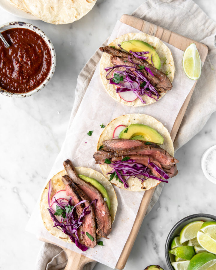 grilled steak tacos with ancho chile orange marinade