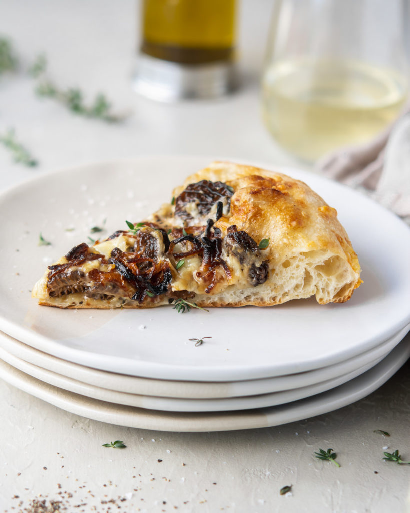 morel pizza with creamy sauce, fontina and thyne