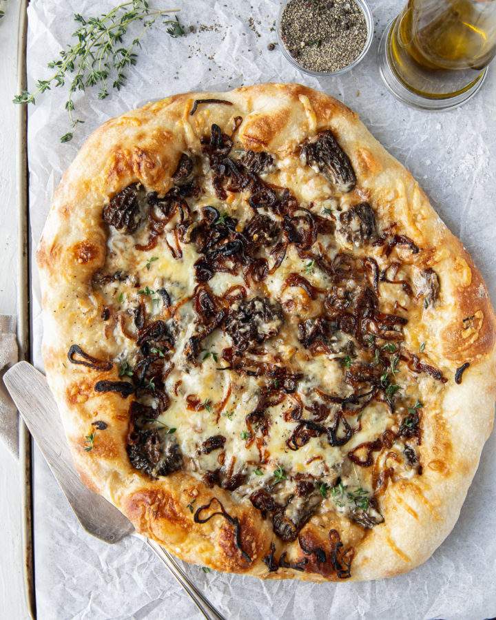 morel pizza with fontina and fried shallots