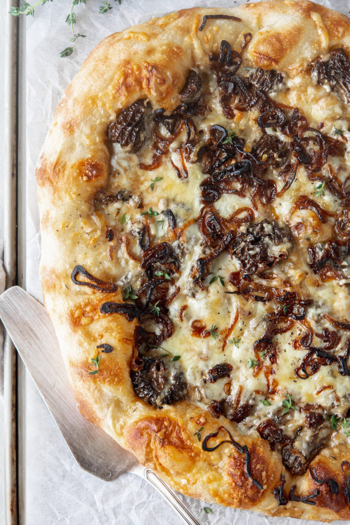 morel pizza with fontina, fried shallots and thyme