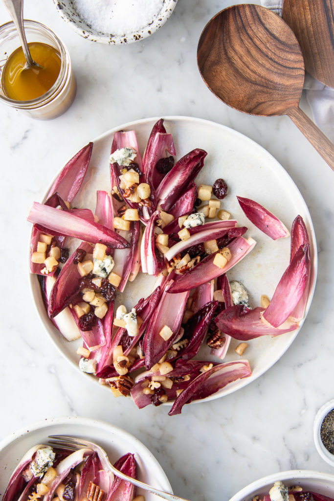 pear endive salad with blue cheese, dried cherries, pecans and maple walnut dressing