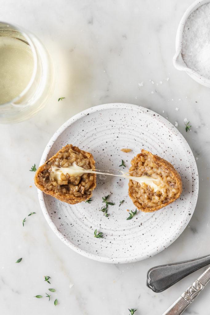 risotto arancini with truffles, porcini mushrooms and mozzarella