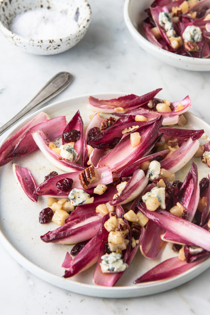 roasted pear salad with endive, blue cheese, cherries and pecans
