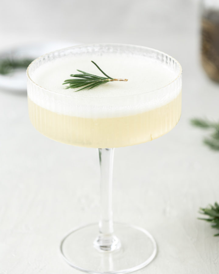 sgroppino cocktail with lemon sortbet and rosemary