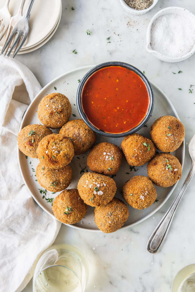 truffle arancini with marinara sauce