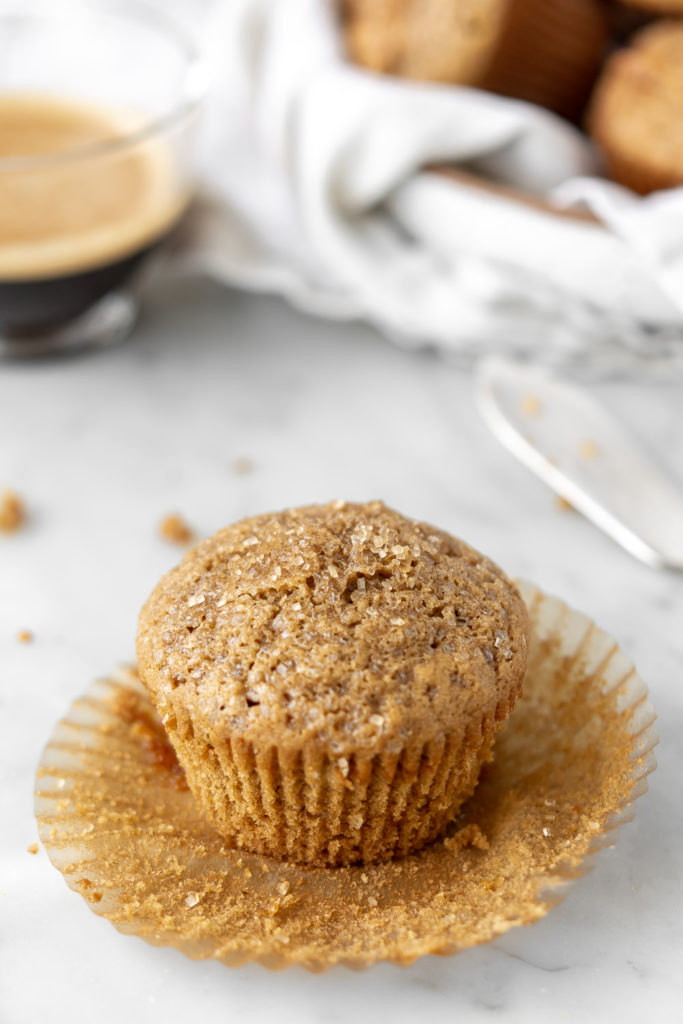 cappuccino muffins with caramelized white chocolate and pecans