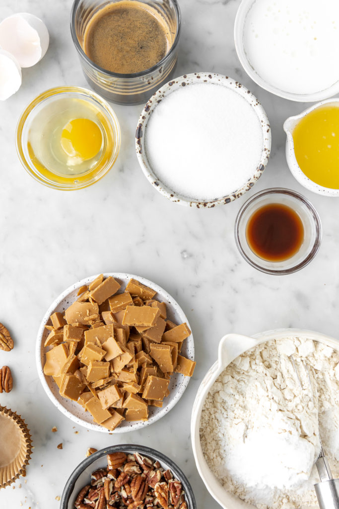 caramelized white chocolate, espresso, buttermilk, flour, pecans, sugar