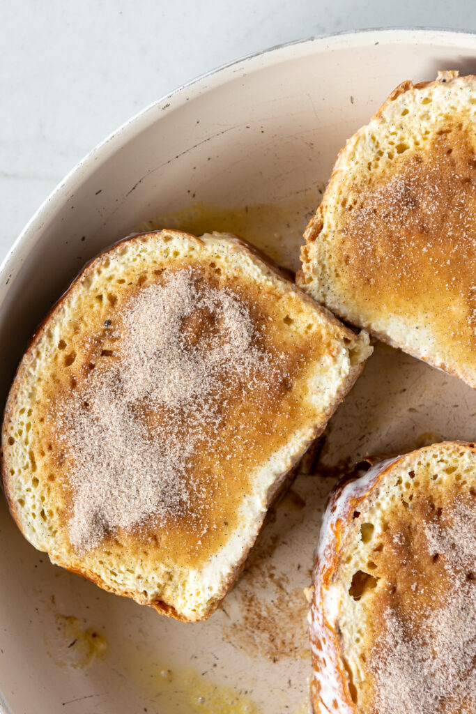 cinnamon sugar topping on brioche slices