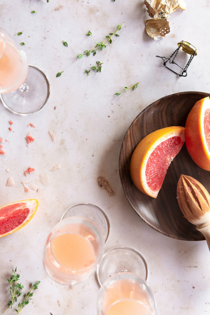 grapefruit juice, grand marnier, thyme for mimosas