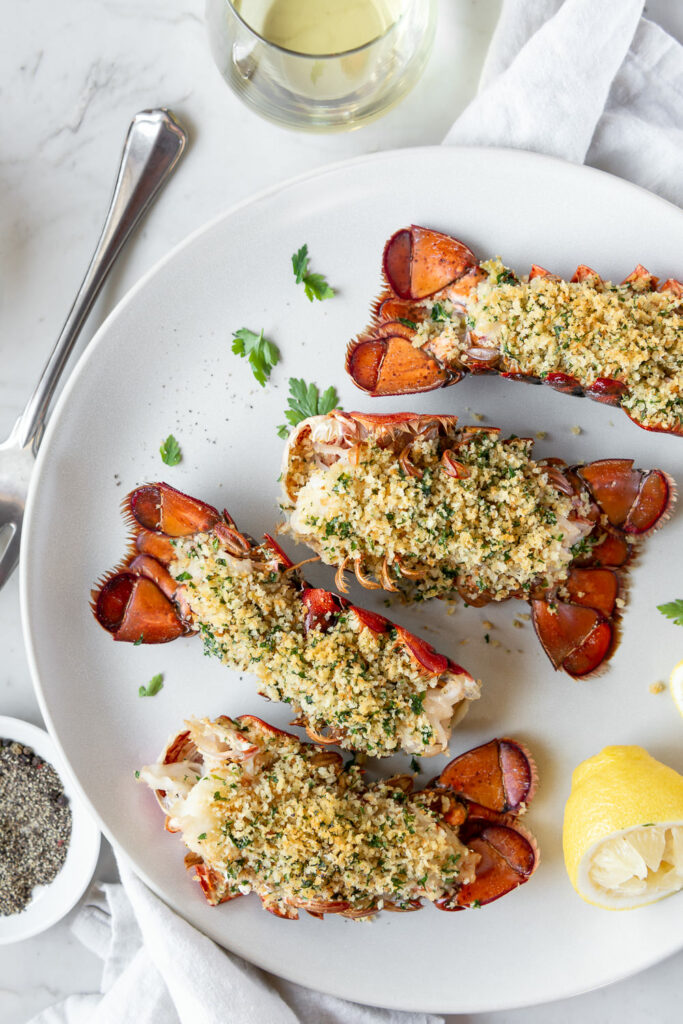 roast lobster tail with brown butter hollandaise sauce